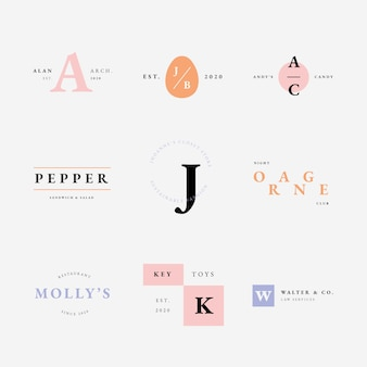 Collection de logos aux couleurs pastel style minimal