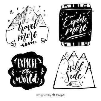 Collection de logos d'aventure dessinés à la main