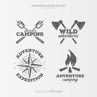 Collection de logos d'aventure dessinés à la main