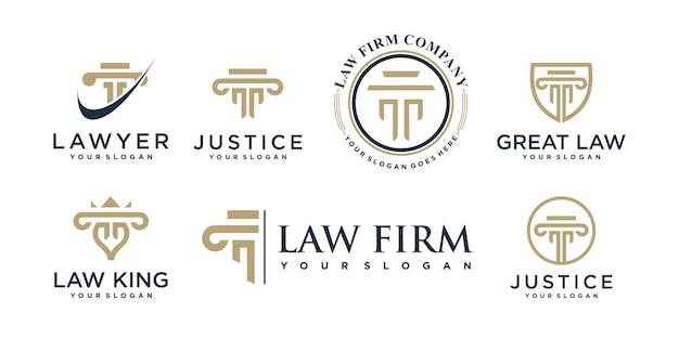 Collection de logos d'avocats avec style d'élément créatif vecteur premium
