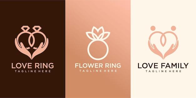 Collection de logos de bague design plat. modèle de logo pour l'entreprise vecteur premium
