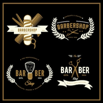 Collection de logos barbershop avec or et blanc