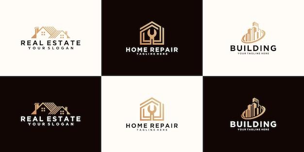 Collection de logos de bâtiments de construction de conception