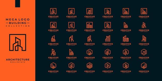 Collection de logos de bâtiments immobiliers