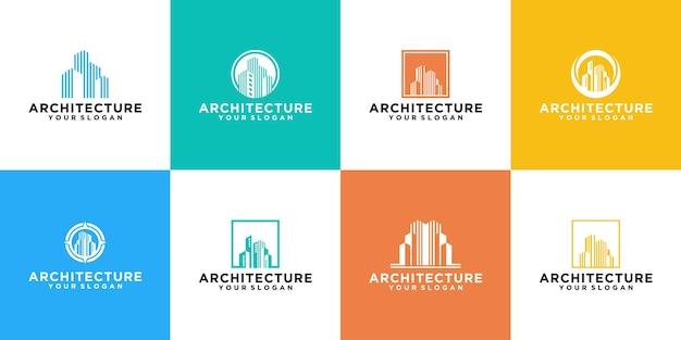 Collection De Logos De Bâtiments Modernes Vecteur Premium