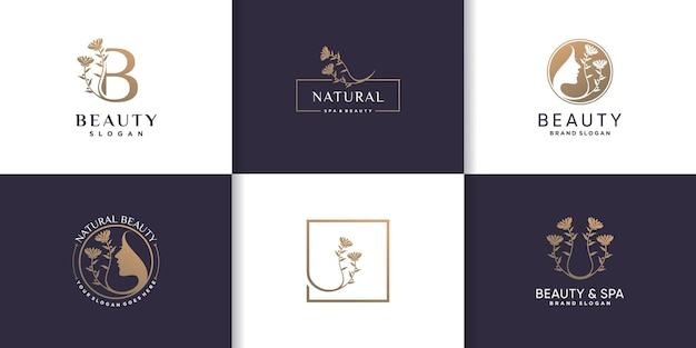 Collection de logos de beauté avec concept d'élément créatif vecteur premium