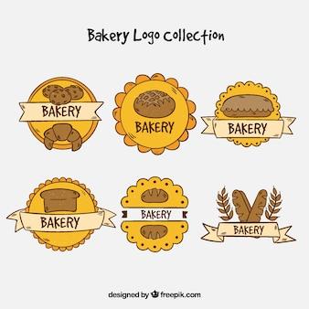 Collection de logos de boulangerie au style dessiné à la main