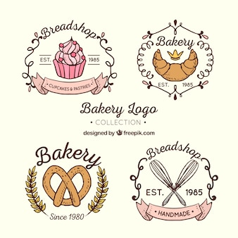 Collection de logos de boulangerie dans un style dessiné à la main