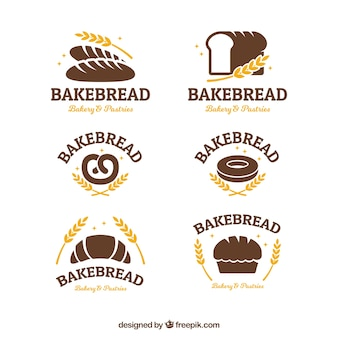 Collection de logos de boulangerie dans le style plat