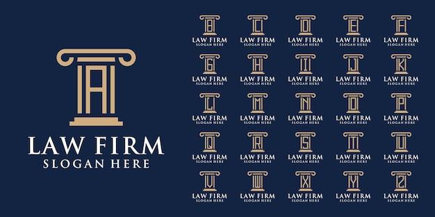 Collection de logos de cabinets d'avocats avec la lettre initiale a à z