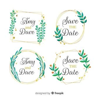 Collection de logos de cadre de mariage aquarelle