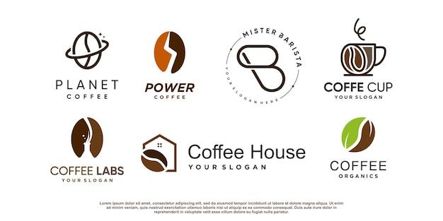 Collection de logos de café avec élément créatif vecteur premium