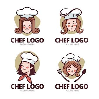 Collection de logos de chef féminin design plat