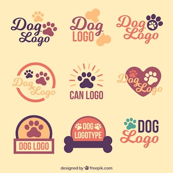 Collection de logos de chien vintage