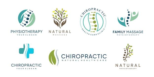 Collection de logos chiropratiques avec concept d'élément créatif vecteur premium