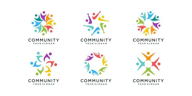 Collection de logos communautaires avec concept créatif vecteur premium