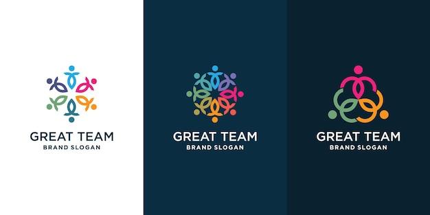 Collection de logos communautaires pour le groupe d'équipes sociales vecteur premium