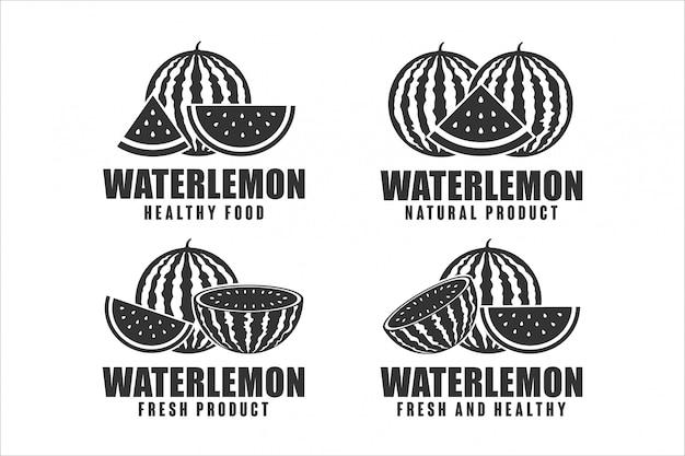 Collection de logos de conception d'aliments sains pastèque