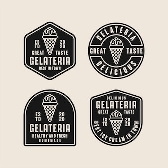 Collection de logos de conception de crème glacée gelateria