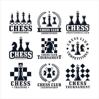 Collection De Logos De Conception D'échecs Vecteur Premium