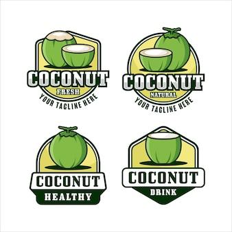 Collection de logos de conception de fruits de noix de coco