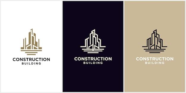 Une collection de logos de construction d'architectes de bâtiments, de concepts de construction d'architectes de gratte-ciel, de logos d'entreprises de construction de bâtiments et de maisons