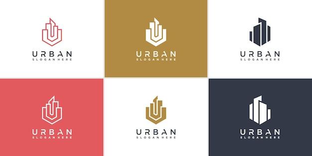 Collection de logos de construction avec un concept unique et créatif vecteur premium