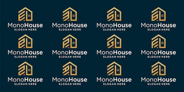 Collection de logos de construction de maisons créatives avec monogramme de lettre initiale. vecteur de prime