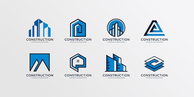 Collection de logos de construction, moderne, concept, dégradé, immobilier, vecteur premium