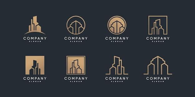 Collection de logos de construction avec style doré et ligne vecteur premium