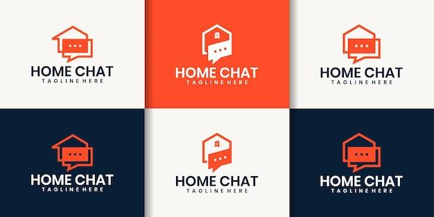 Collection de logos de consultation de maison, maison avec chat à bulles.