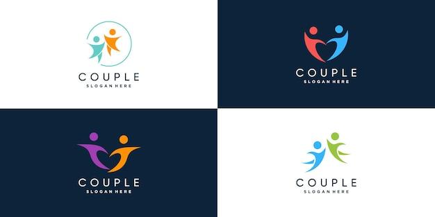 Collection de logos de couple avec un concept unique et moderne vecteur premium