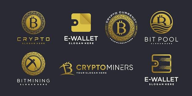 Collection de logos cryptographiques avec élément créatif moderne vecteur premium