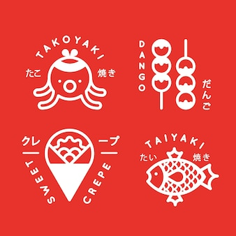 Collection de logos de cuisine de rue japonaise