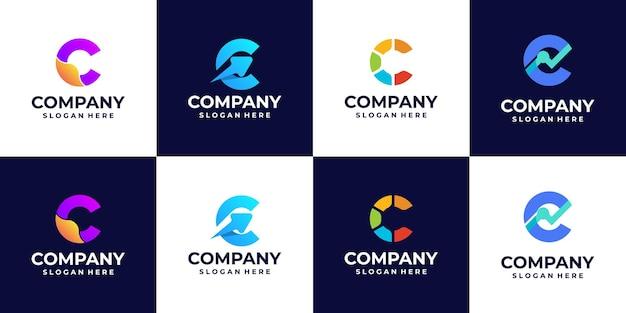 Une collection de logos dégradés de lettre c