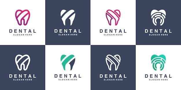 Collection de logos dentaires avec un design moderne vecteur premium