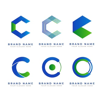 Collection de logos design plat c