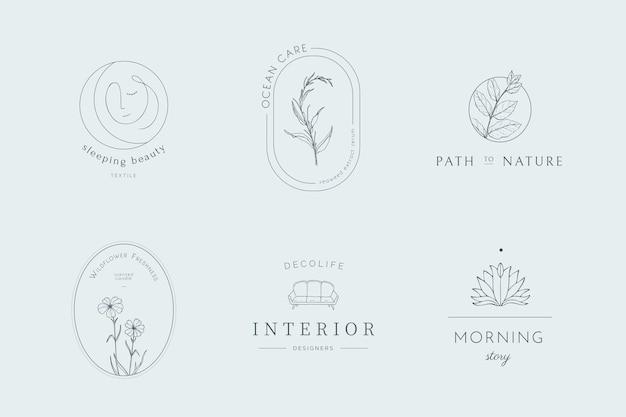 Collection de logos dessinés à la main à la mode