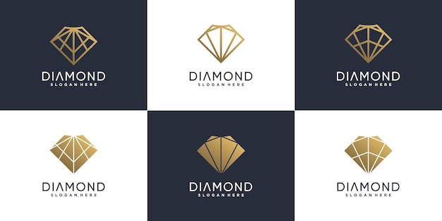 Collection de logos en diamant avec un concept créatif moderne vecteur premium