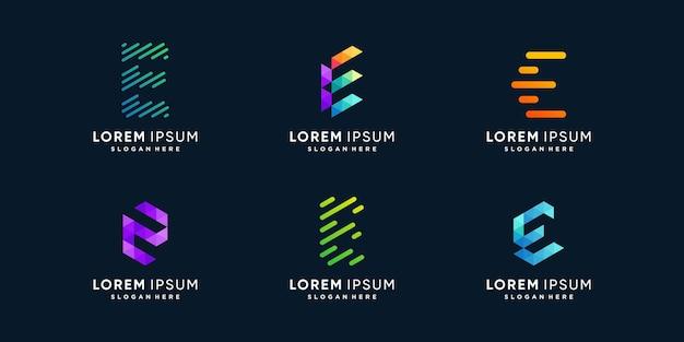 Collection de logos e avec un concept créatif moderne vecteur premium