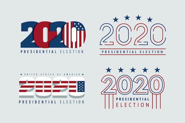 Collection de logos de l'élection présidentielle américaine 2020