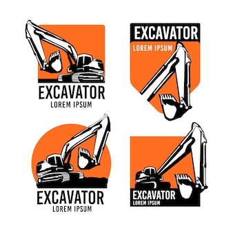 Collection de logos d'excavatrice et de construction