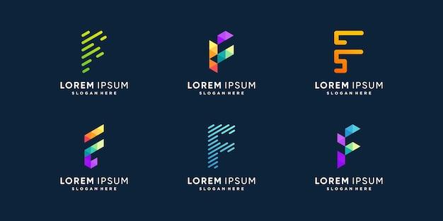 Collection de logos f avec concept d'élément créatif vecteur premium
