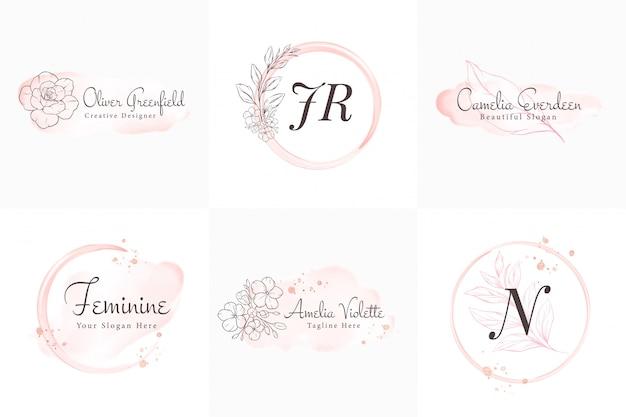 Collection de logos féminins, modèles d'insignes modernes minimalistes et floraux et aquarelles dessinés à la main pour la marque, l'identité, la boutique, le salon