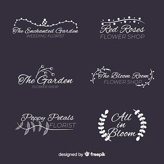 Collection de logos de fleuriste de mariage