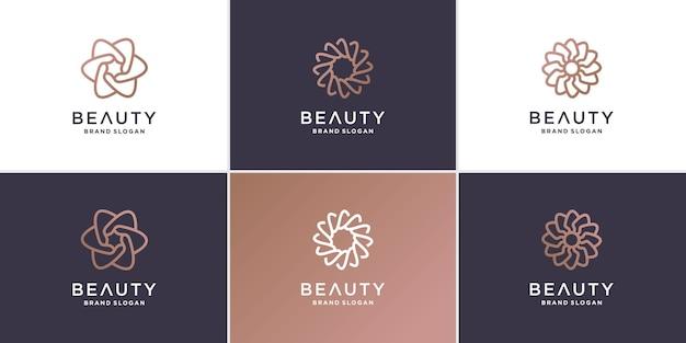 Collection de logos de fleurs de beauté avec concept de ligne minimaliste vecteur premium