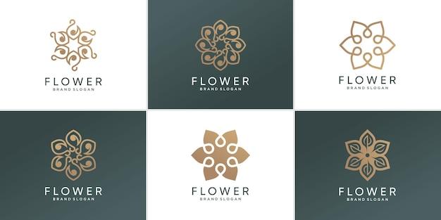 Collection de logos de fleurs avec un concept abstrait créatif vecteur premium