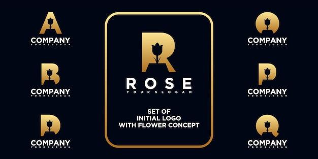 Collection de logos de fleurs avec concept initial. logo de référence