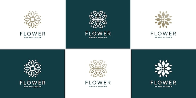 Collection de logos de fleurs avec concept de style créatif vecteur premium