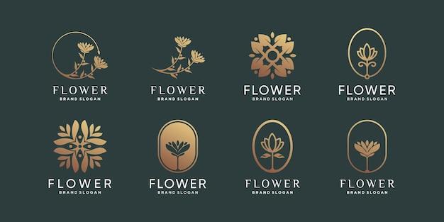 Collection de logos de fleurs avec un concept unique et moderne vecteur premium